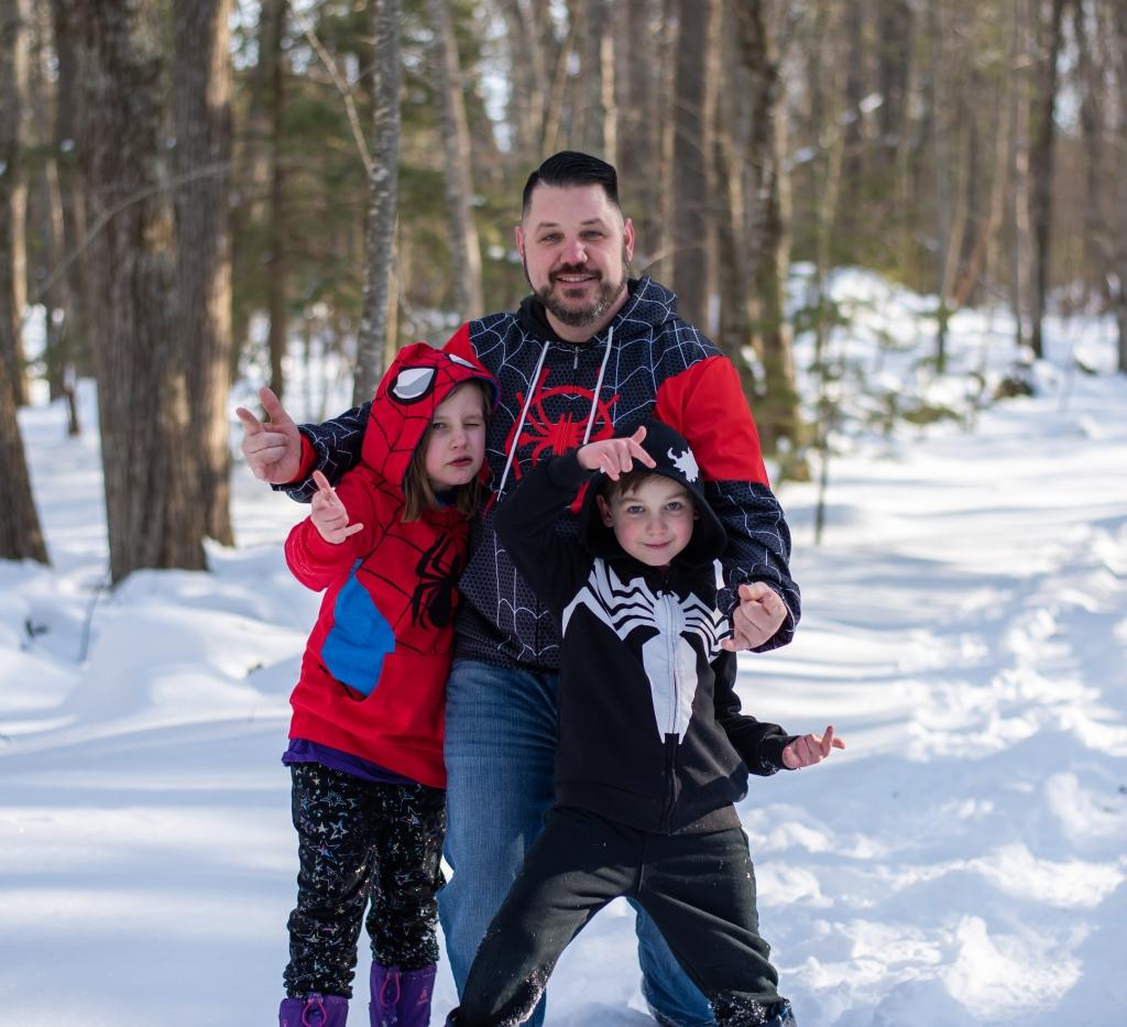 A happy family dressed as superheroes. Logan, UT
